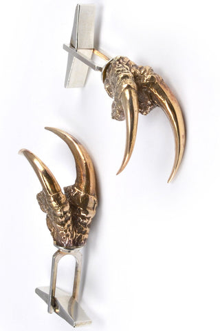 Shop emerging slow fashion jewellery brand Eilisain Hunted Bronze Double Owl Talon Cuff Links - Erebus - 1