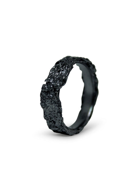 Shop Emerging Slow Fashion Avant-garde Jewellery Brand Gothmos Black Raw Ring at Erebus