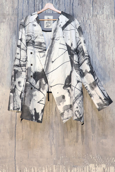 Shop Emerging Conscious Agender Avant-garde Brand Nomad Goba Idiocy Collection Hand-Painted Linen Wrap Jacket at Erebus