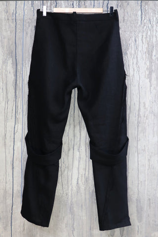 Shop Emerging Conscious Agender Avant-garde Brand Nomad Goba Idiocy Collection Black Linen Trousers at Erebus