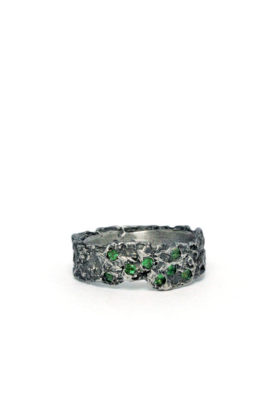 Shop Emerging Slow Fashion Avant-garde Jewellery Brand Gothmos Oxidised Silver Raw Tsavorite Green Garnet Ring at Erebus