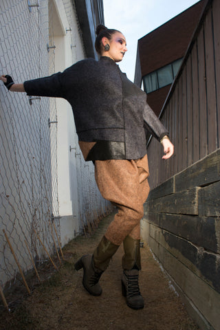 Shop Emerging Conscious Avant-garde Gender-free Brand Supramorphous Brown Wool Triangle Pants at Erebus