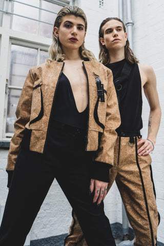 Shop Emerging Slow Fashion Avant-garde Unisex Brand Dhenze Kollektion 5 Cork Rope Trousers at Erebus