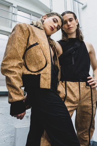 Shop Emerging Slow Fashion Avant-garde Unisex Brand Dhenze Kollektion 5 Cork Back Cut Out Rhombus Bomber Jacket at Erebus