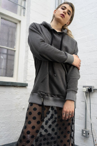 Shop Emerging Slow Fashion Avant-garde Unisex Brand Dhenze Kollektion 5 Grey Half Hitch Hoodie at Erebus
