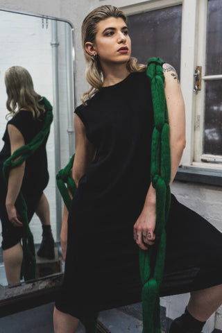 Shop Emerging Slow Fashion Avant-garde Unisex Brand Dhenze Kollektion 5 Green on Black Chainscarf Sleeveless Dress at Erebus