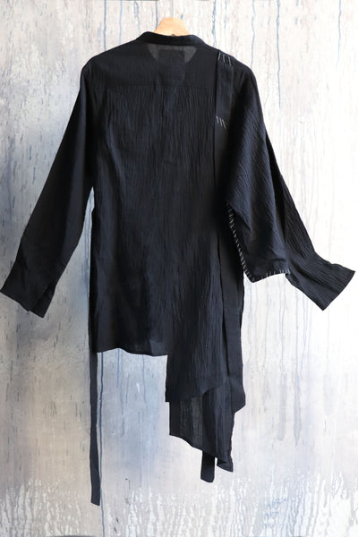 Shop Emerging Conscious Agender Avant-garde Brand Nomad Goba Black Asymmetric Long Shirt at Erebus