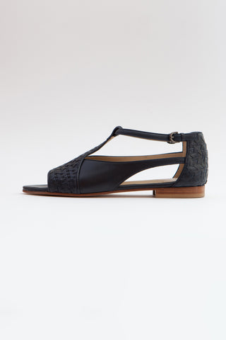 Shop Emerging Conscious Shoe Designer Rana Cheikha Navy Leather Hiyat Sandals at Erebus
