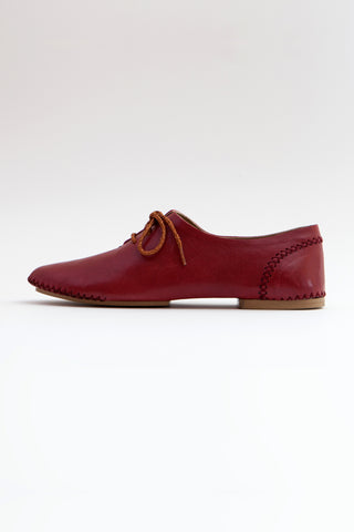 Shop Emerging Conscious Shoe Designer Rana Cheikha Crimson Leather Medan Moccasins at Erebus