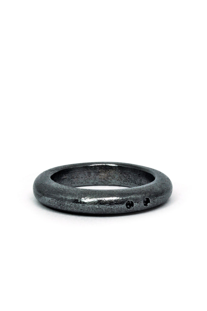 Shop Emerging Slow Fashion Avant-garde Jewellery Brand Gothmos Black Scarred Holes Ring at Erebus