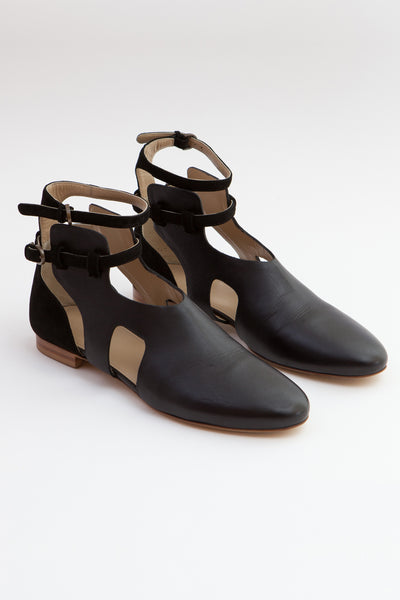 Shop Emerging Slow Fashion Shoe Designer Rana Cheikha Black Leather Alma Ankle Boots at Erebus