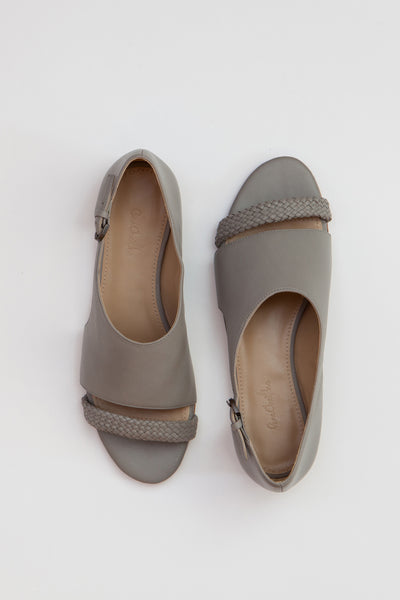 Shop Emerging Conscious Shoe Designer Rana Cheikha Grey Leather Mina Sandals at Erebus