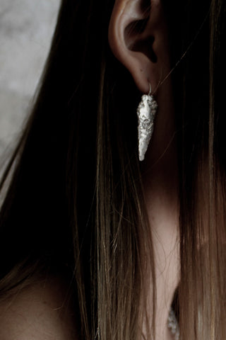 Shop Slow Fashion Artisanal Dark Jewellery Designer Maya Noach Sterling Silver Arrowhead Earrings at Erebus
