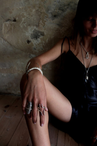 Shop Slow Fashion Artisanal Dark Jewellery Designer Maya Noach Sterling Silver Crested Ring at Erebus