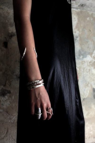 Shop Slow Fashion Artisanal Dark Jewellery Designer Maya Noach Sterling Silver Fang Cuff Bracelet at Erebus