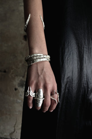Shop Slow Fashion Artisanal Dark Jewellery Designer Maya Noach Sterling Silver Layer Horns Ring at Erebus