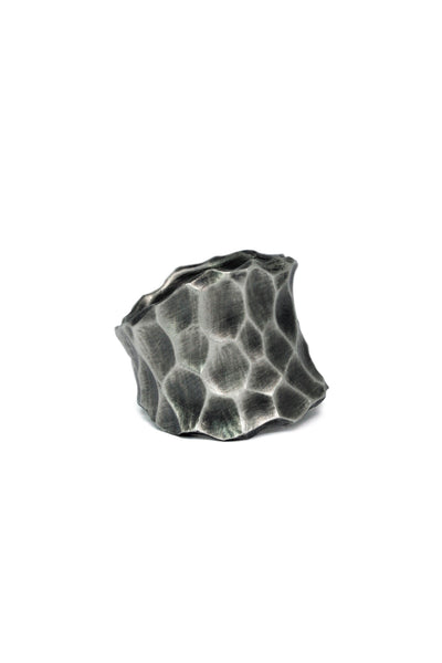 Shop Emerging Slow Fashion Avant-garde Jewellery Brand Gothmos Oxidised Silver Unbalanced Hand-Hammered Ring at Erebus