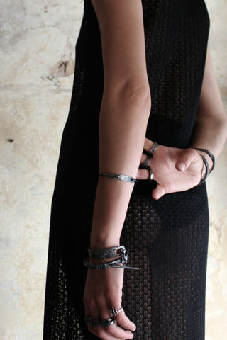 Shop Slow Fashion Artisanal Dark Jewellery Designer Maya Noach Oxidised Sterling Silver Shackle Bracelet at Erebus