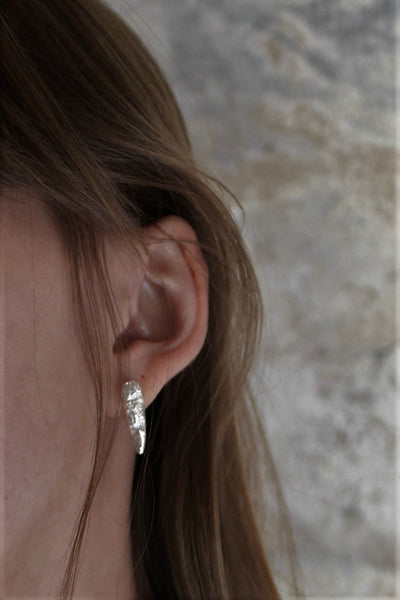 Shop Slow Fashion Artisanal Dark Jewellery Designer Maya Noach Sterling Silver Crevice Stud Earrings at Erebus