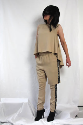 Shop Emerging Contemporary Conscious Womenswear Brand Too Damn Expensive Nude Draped Sleeveless Top at Erebus
