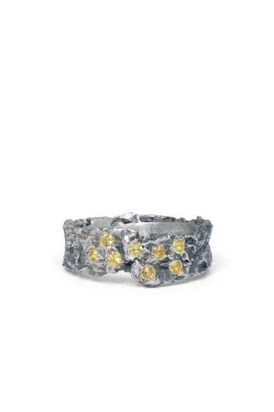 Shop Emerging Slow Fashion Avant-garde Jewellery Brand Gothmos Silver Raw Yellow Sapphire Ring at Erebus