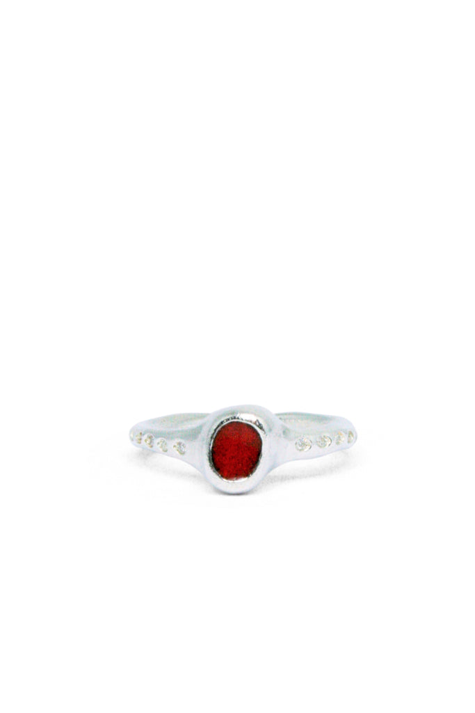 Shop Emerging Slow Fashion Avant-garde Jewellery Brand Gothmos Silver Unbalanced Red Chilbo Diamonds Ring at Erebus