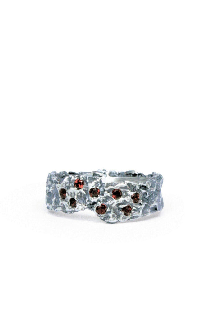 Shop Emerging Slow Fashion Avant-garde Jewellery Brand Gothmos Silver Raw Garnet Ring at Erebus