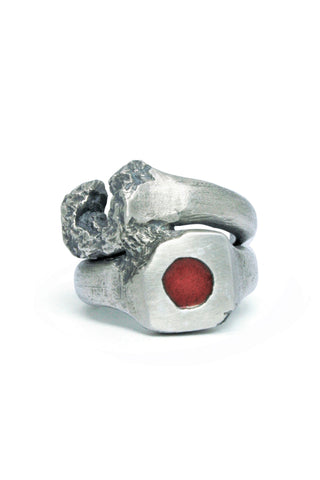 Shop Emerging Slow Fashion Avant-garde Jewellery Brand Gothmos Silver and Red Enamel Mystery Signet Chilbo Double Ring at Erebus