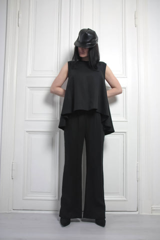 Shop Emerging Contemporary Conscious Womenswear Brand Too Damn Expensive Black Draped Sleeveless Top at Erebus