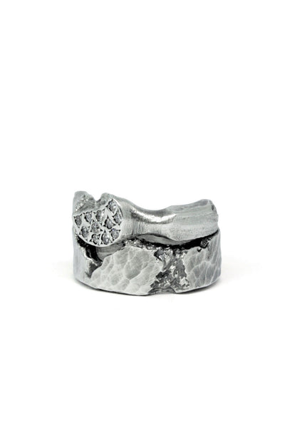 Shop Emerging Slow Fashion Avant-garde Jewellery Brand Gothmos Silver Mystery Diamonds Ring at Erebus