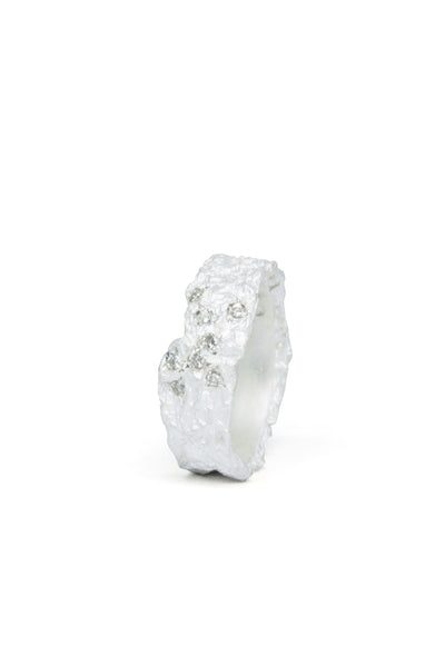 Shop Emerging Slow Fashion Avant-garde Jewellery Brand Gothmos White Raw Diamonds Ring at Erebus