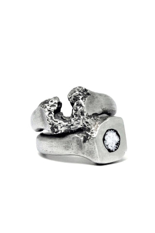 Shop Emerging Slow Fashion Avant-garde Jewellery Brand Gothmos Silver and Black / White Cosmic Enamel Mystery Signet Chilbo Double Ring at Erebus