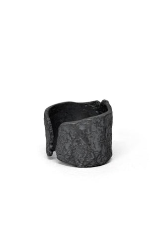 Shop Emerging Slow Fashion Avant-garde Jewellery Brand Gothmos Black Sterling Silver Raw Surface Cuff Ring at Erebus