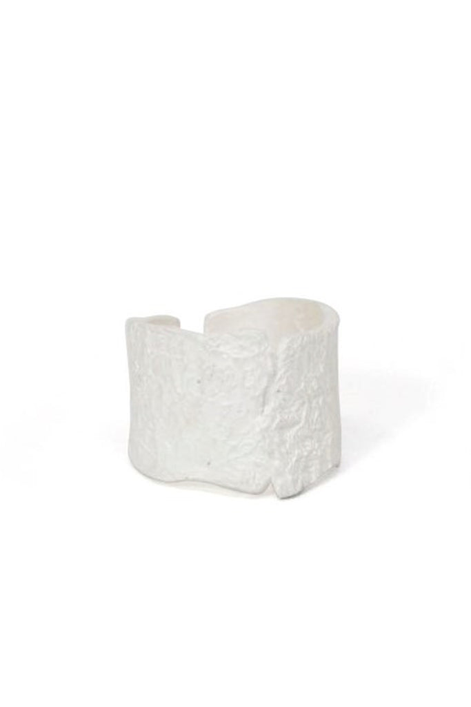Shop Emerging Slow Fashion Avant-garde Jewellery Brand Gothmos White Sterling Silver Raw Surface Cuff Ring at Erebus