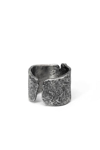 Shop Emerging Slow Fashion Avant-garde Jewellery Brand Gothmos Oxidised Sterling Silver Raw Surface Cuff Ring at Erebus