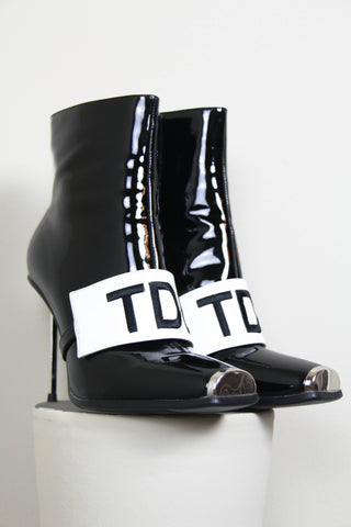 Shop Emerging Contemporary Womenswear brand Too Damn Expensive Black Patent Leather Limited Edition Ankle Boots at Erebus