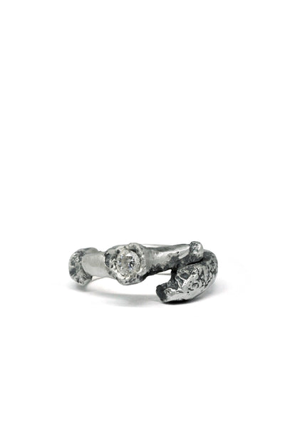 Shop Emerging Slow Fashion Avant-garde Jewellery Brand Gothmos Silver Mystery Signet Diamond Ring at Erebus