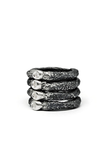 Shop Emerging Slow Fashion Avant-garde Jewellery Brand Gothmos Silver Mystery Stacked Diamond Ring at Erebus