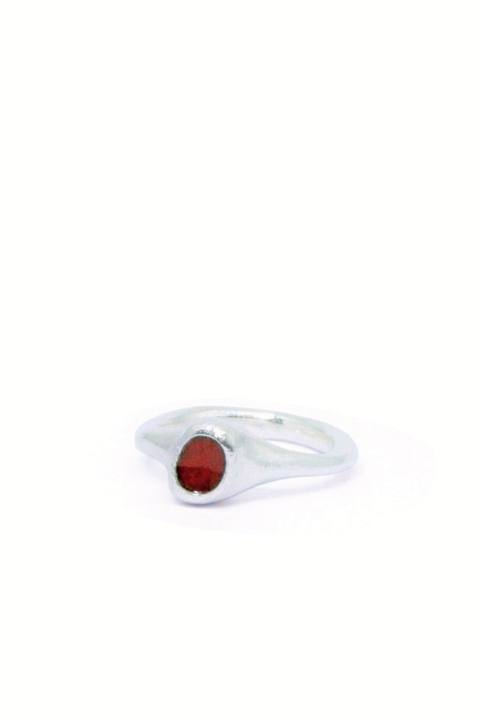Shop Emerging Slow Fashion Avant-garde Jewellery Brand Gothmos Silver Unbalanced Red Chilbo Ring at Erebus