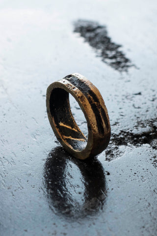Shop Emerging Slow Fashion Avant-garde Jewellery Brand Surface Cast Blackened Bronze Incise Ring at Erebus