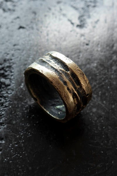 Shop Emerging Slow Fashion Avant-garde Jewellery Brand Surface Cast Blackened Bronze Incise Medium Ring at Erebus