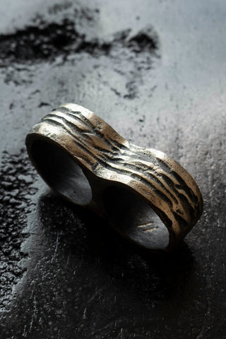Shop Emerging Slow Fashion Avant-garde Jewellery Brand Surface Cast Blackened Bronze Incise Double Ring at Erebus