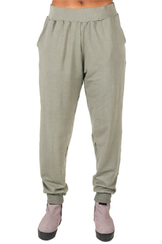 Shop Fair Fashion Genderless Avant-garde Basics Brand PULSE by Mark Baigent Collection Green Smoke Organic Bamboo Terry Intima Jogging Pants at Erebus