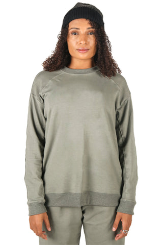 Shop Fair Fashion Genderless Avant-garde Basics Brand PULSE by Mark Baigent Collection Green Smoke Organic Bamboo Terry Intima Raglan Sweater at Erebus