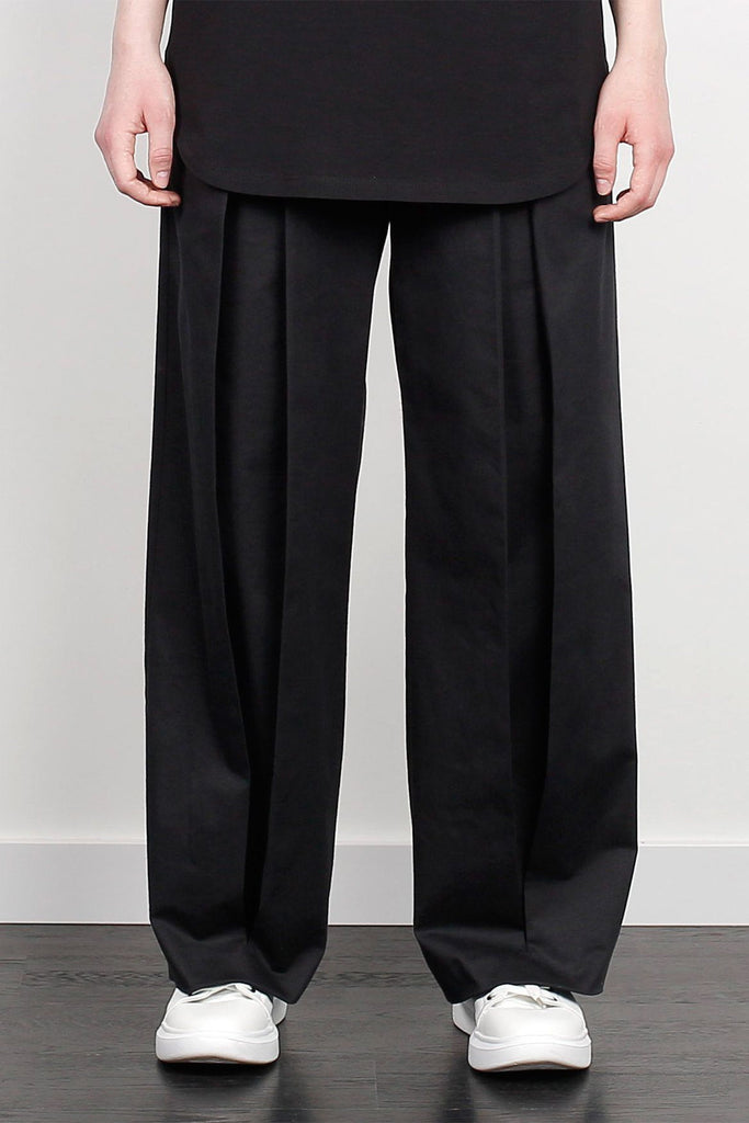 Shop Emerging Unisex Street Brand Monochrome Black Inverted Hakama Trousers at Erebus