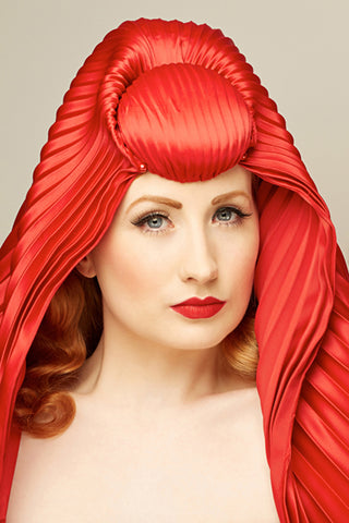 Shop emerging slow fashion milliner Valeria Agostini red Isra pleated veil - Erebus