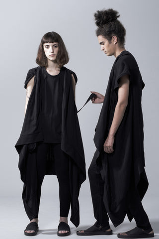 Shop Emerging Slow Fashion Avant-garde Genderless Brand Vague Black Oversized Cape at Erebus