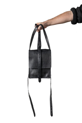 Shop Emerging Slow Fashion Genderless Avant-garde Designer Mark Baigent Spittelberg Collection Black Reclaimed Leather Josefine Mutzenbacher Bag at Erebus