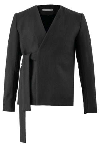 Shop Emerging Slow Fashion Avant-garde Menswear Designer Marco Scaiano Black Wool Efrahim Wrap Jacket at Erebus