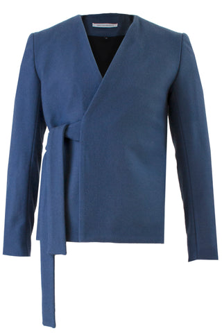 Shop Emerging Slow Fashion Avant-garde Menswear Designer Marco Scaiano Blue Wool Efrahim Wrap Jacket at Erebus